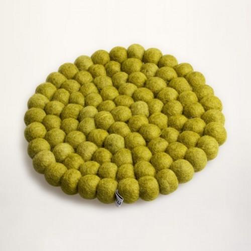 green trivet of felt balls